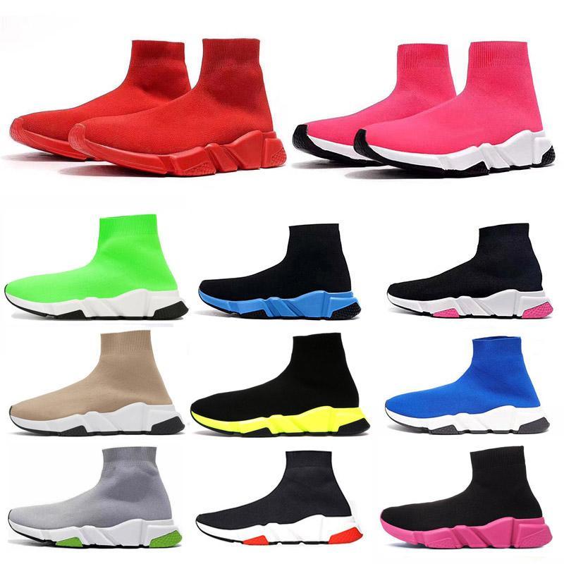 2021 Speed Trainer Runner Men Sneakers Triple Negro Punto de punto Brillo Paris Mujeres Mens Entrenadores Planos Socks Botas Plataformas Zapatos Casuales