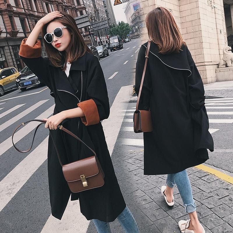 Kadınlar için gEr2Q 2YPNj Kadın Orta uzunlukta siper 2019 ince Kore Sonbahar Yeni Moda ceket tarzı kısa öğrenci bel WINDBREAKER ceket