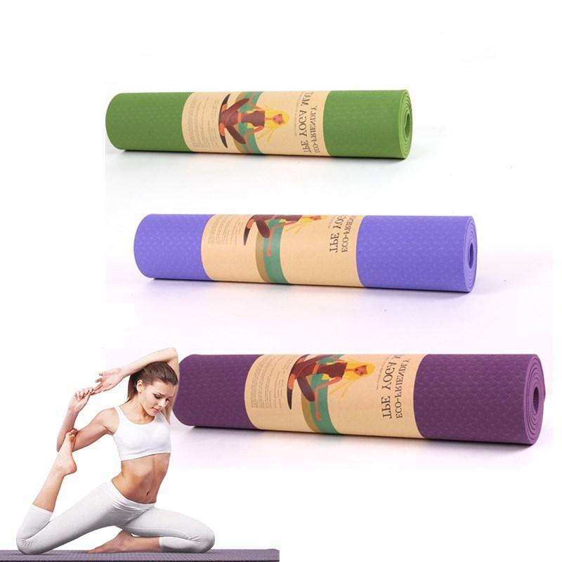 TPE Yoga Mat 183 * 61см для тренировки Пилатес упражнения Случайным поднято Цвет