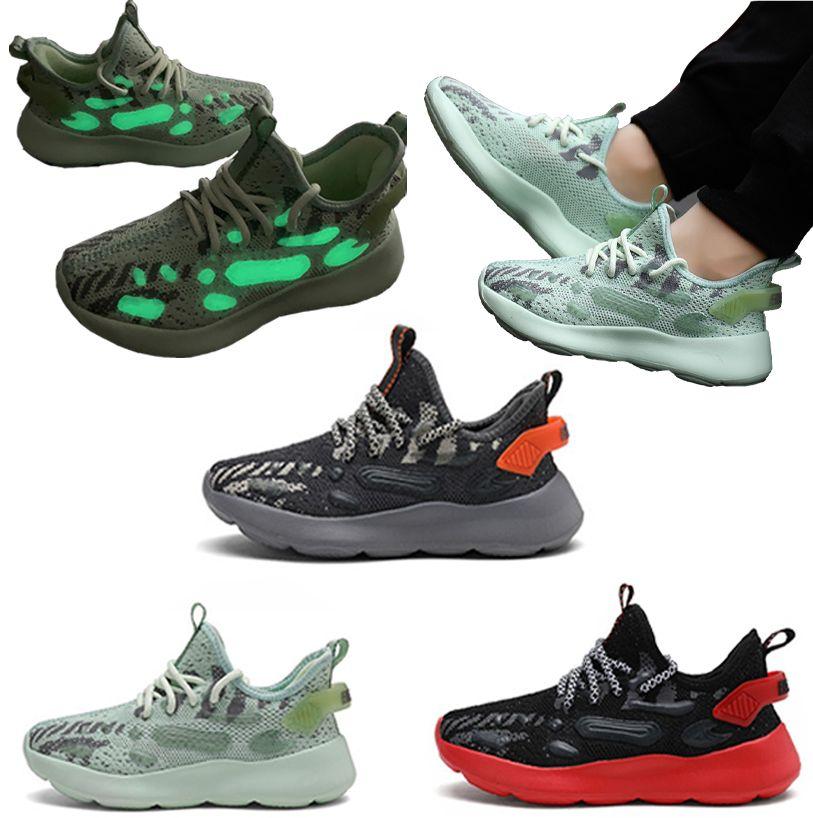 أحذية الأطفال والأحذية الفلورسنت الطيران الفتيان والفتيات تشغيل الأطفال حذاء تنفس الدانتيل يصل