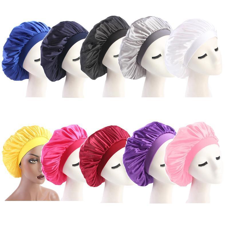58 centímetros Ajuste Sólidos Satin Hair Styling Bonnet Cap longo Hair Care Women noite de sono Hat Silk Envoltório principal Duche Cap Cabelo ferramenta Styling