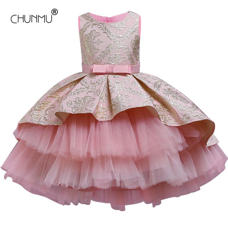 Fleur Vintage Broderie Bébé fille Robe Cérémonie d'ouverture Tutu Vêtements Tenues de soirée élégante filles robe de princesse enfants Vestidos