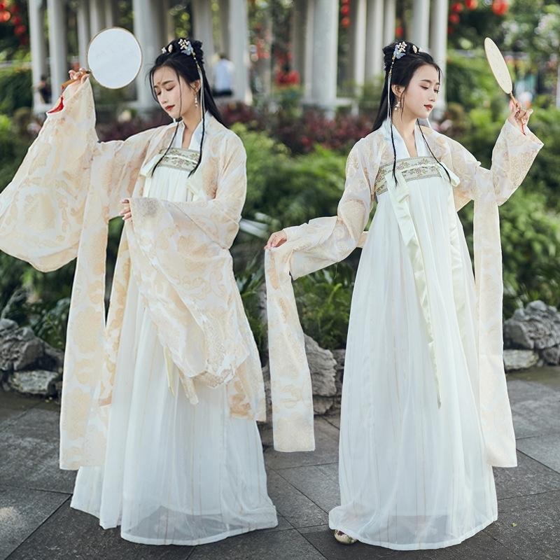 xdawc Han Uzun geniş elbise giyim kadın zarif' antik kostüm genellikle uzun Wei ve Jin stili kollu elbise öğrenci ve zarif Chine etek