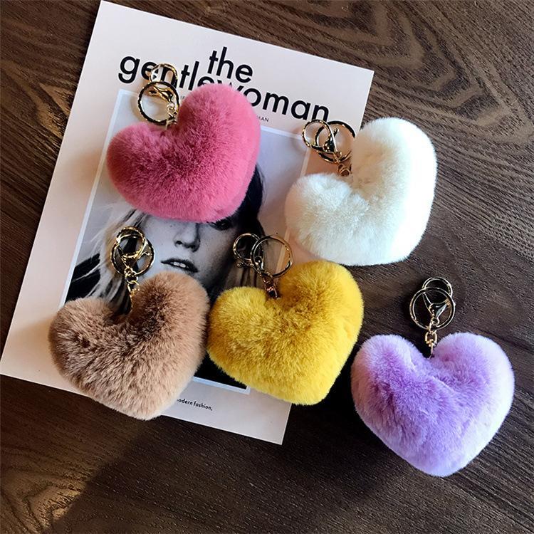 Solid Color Imitate Rabbit Fur Heart Keychain Fashion Pom Car Keychain Bag Cahrms Pendant Key Ring Fluffy Faux Rabbit Fur
