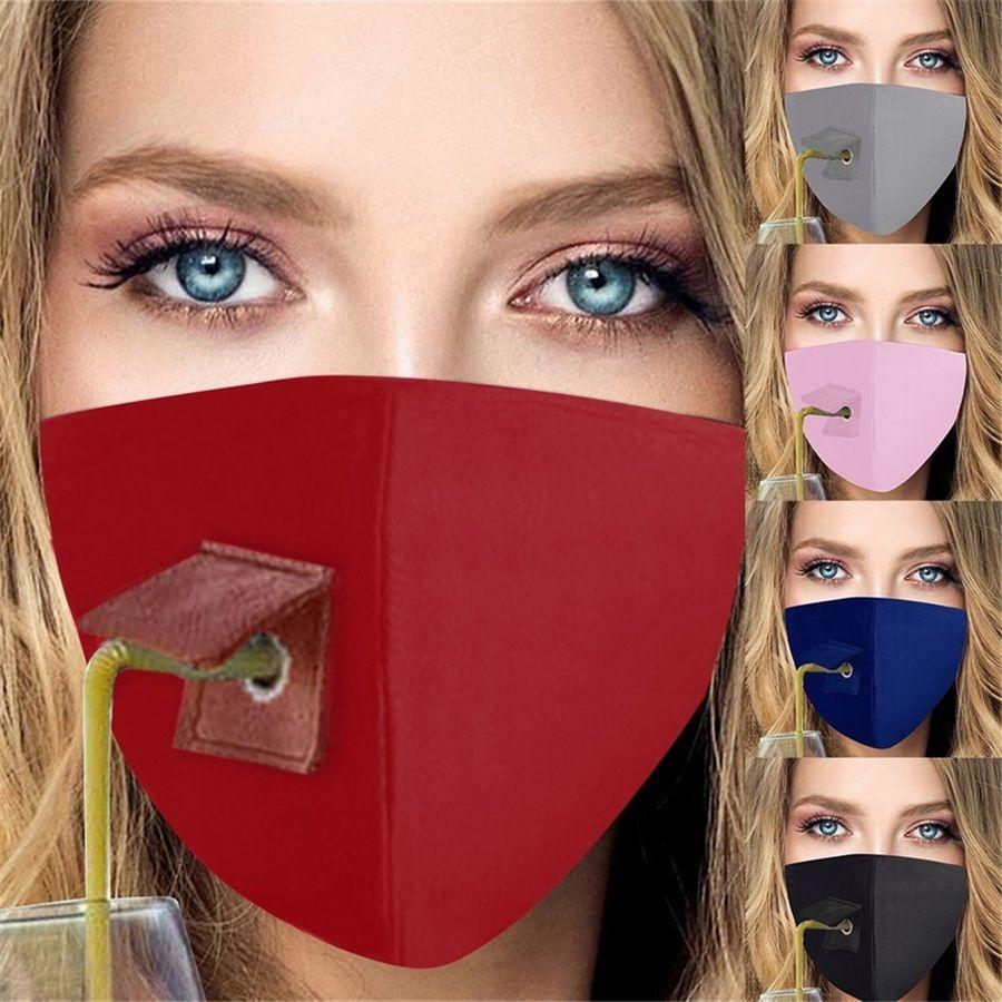 Nuovo Lavabile mascherina protettiva unisex bevibili maschere facile da bere Maschera Coprendo maschere di design cotone Viso copertura esterna Sport GWA1383