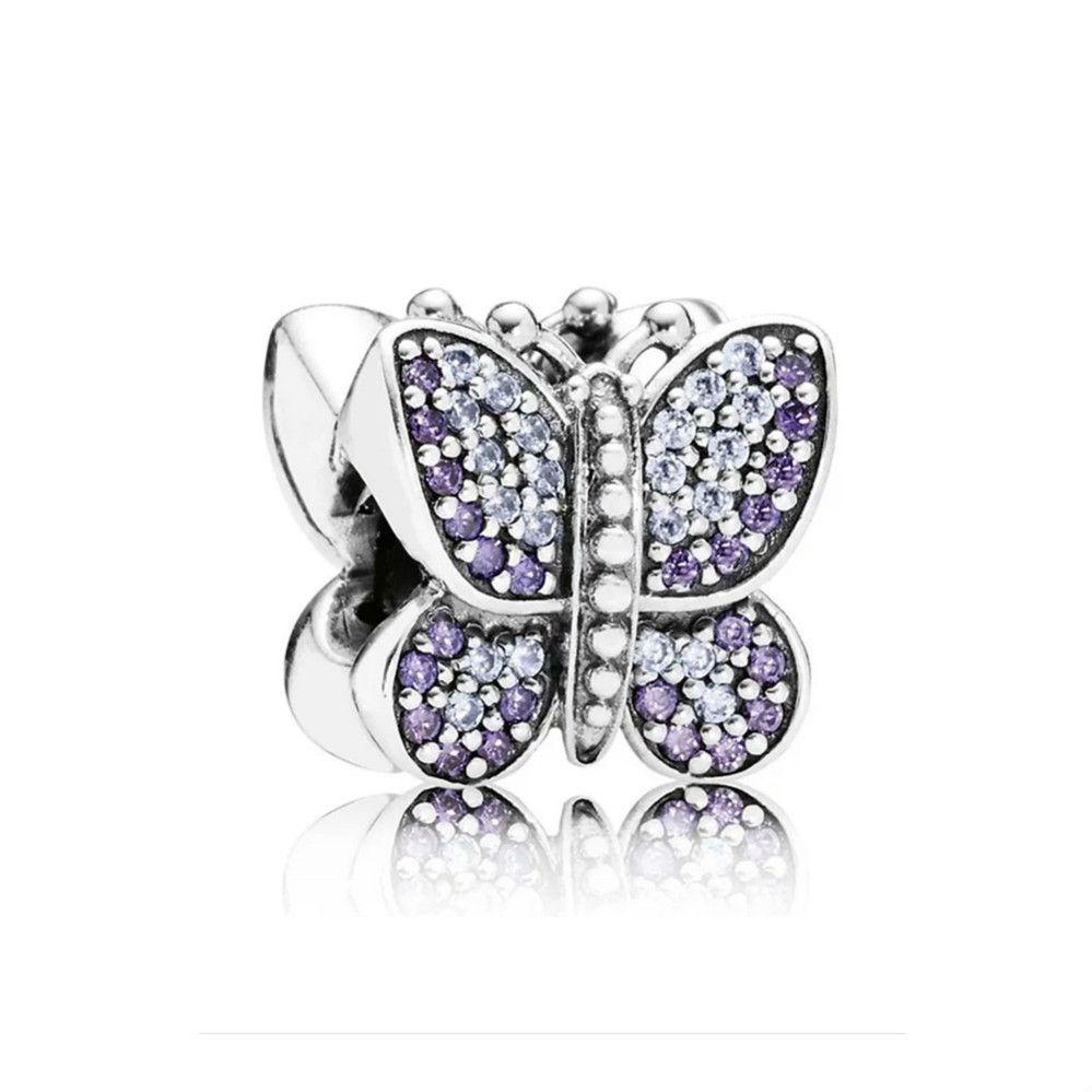 NEW 100% 925 Sterling Silver 1:1 Authentic 791257ACZ Sparkling Butterfly Charm Bracelet Original Women Jewelry