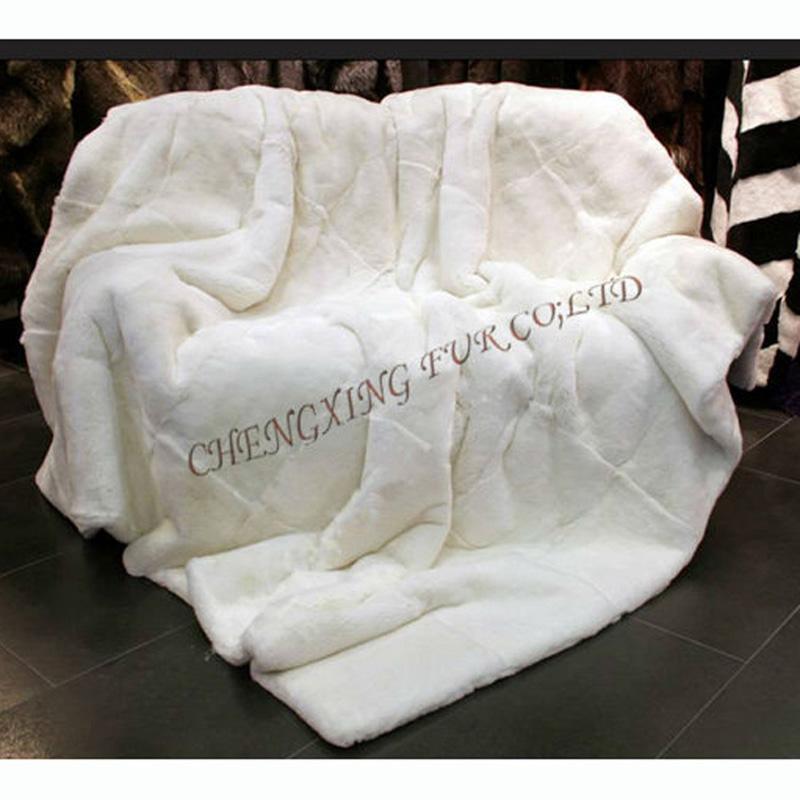 CX-D-32A de alta qualidade projeto luxuoso Genuine Rex Fur Blanket Lance Rug