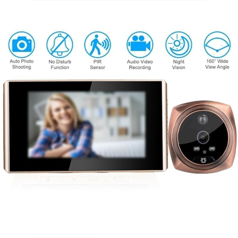 4.3' Digital HD Porta Peephole Camera Viewer Wide Angle campainha porta eletrônico Visualizador Digital Camera Doorbell Peephole