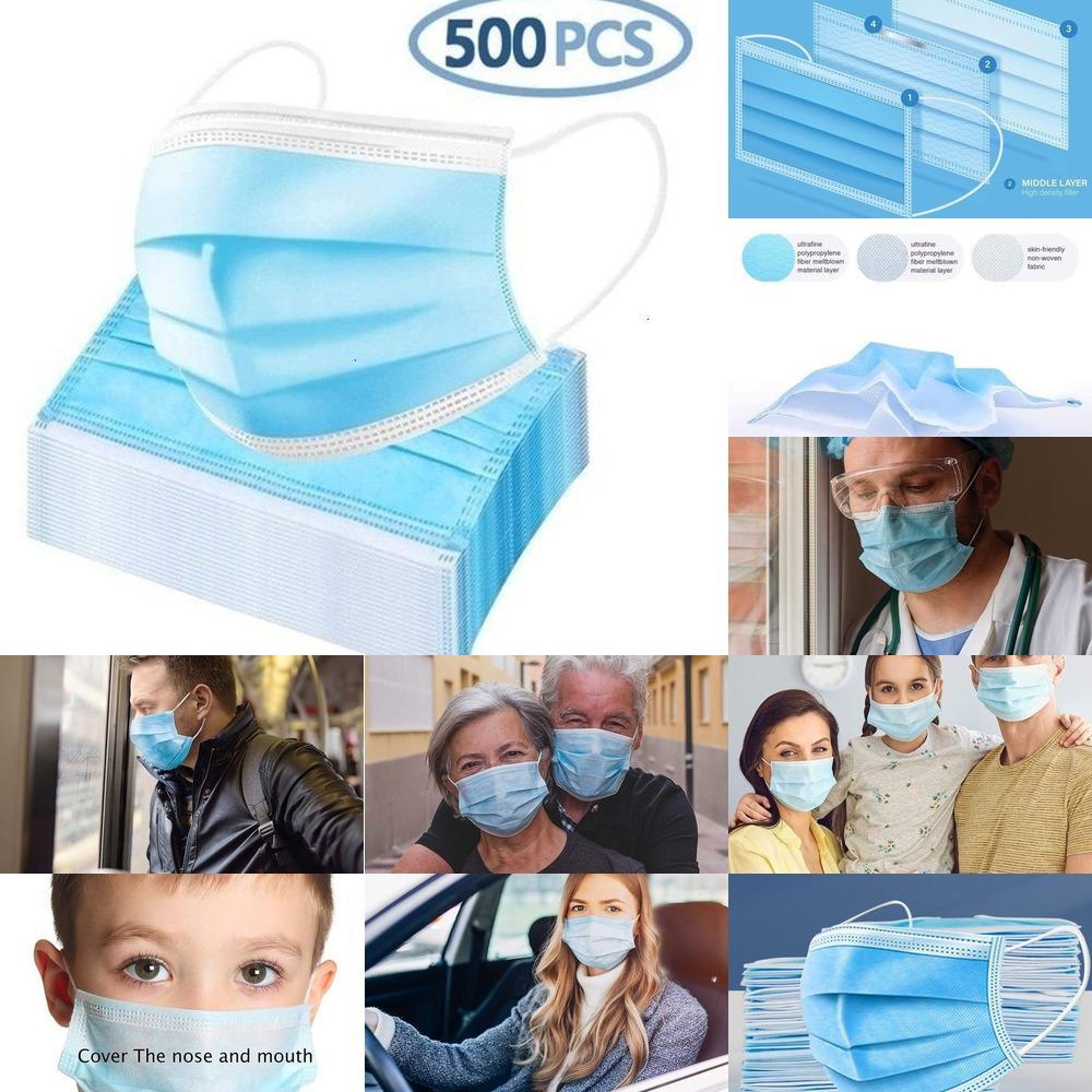 Máscaras 300pcs Conforto Care rosto diariamente descartáveis Processual, 3-ply respirável confortável Máscara de Segurança (500count) 50pcs / caixa QYZ2