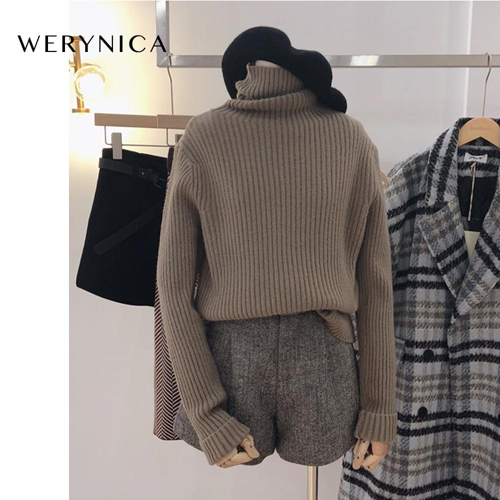 Werynica estilo coreano flojo suéter mujeres suéter de cuello alto de manga larga casual de punto suéter de cachemira Mujer sólida Y200909 suéter suave