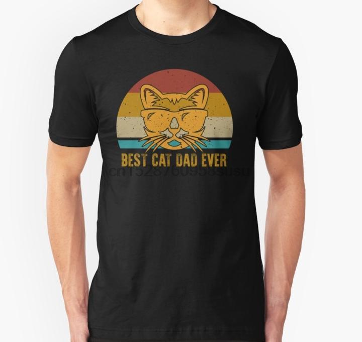 Männer T-Shirt Vintage Best Cat Dad Ever-T-Shirt Katzen-Vati-Vater-T-Shirt (1) Bedruckte T-Shirt T-Shirt oben