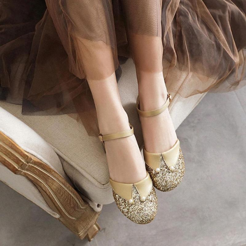 Женская обувь Mary Jane Pumps Мода Sequined площади Низкий каблук партии Повседневная обувь Круглый Toe Женщины Золото Серебро Размер 33 43 Сандалии For Me xNIt #