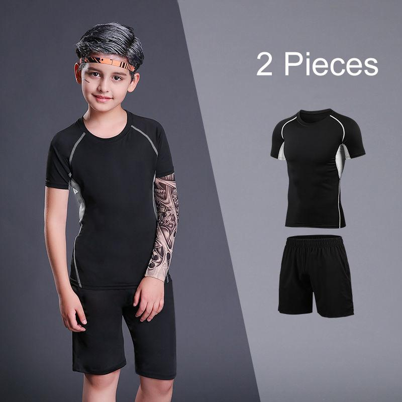 Kid Sports Running Sets Boys Sport Suit Jogging Set Basketball Underwear Sportswear Gym Tights Soccer Tracksuit Training Clothes