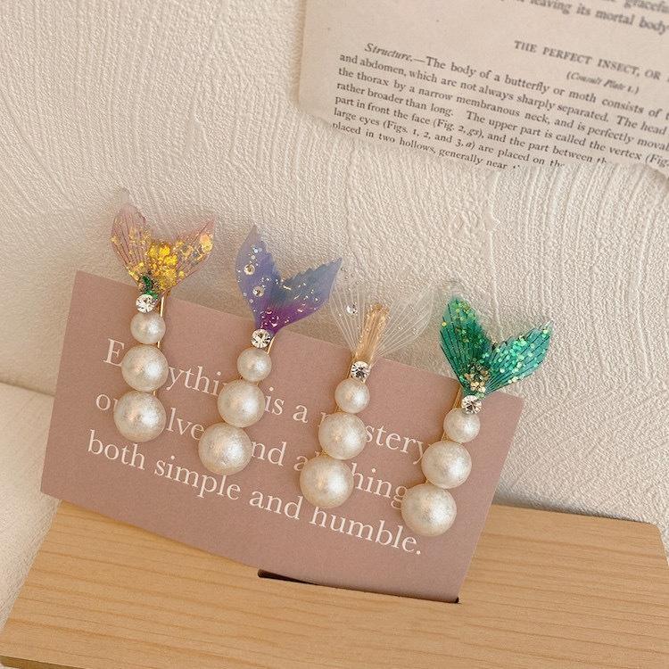 YmGw0 princesa sirena Súper de hadas cola de pescado horquilla chica pinza de horquilla de la perla estilo ins coreana dulce perla