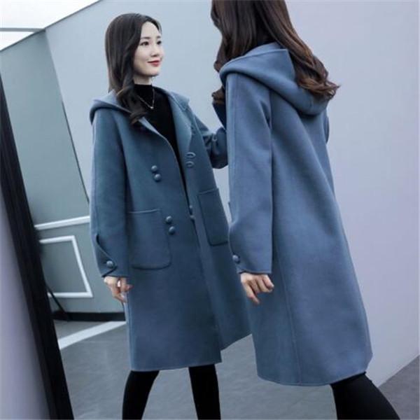 nuovi cappotto di lana giacca di lana Miscele cappotto allentato di lunghezza media incappucciati 2020 autunno e abbigliamento invernale delle donne