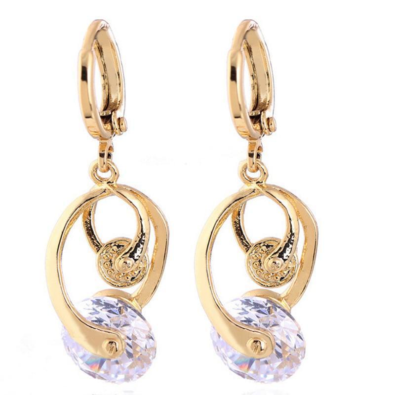 Модные серьги венчания для женщин золото Цвет Ясность CZ серьги падения ювелирных изделий Orecchini