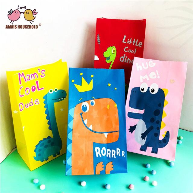 50pcs/lot Amais Cute Dinosaur Colorful Child Birthday Party Candy Gift Favor Packaging Kraft Paper Bags