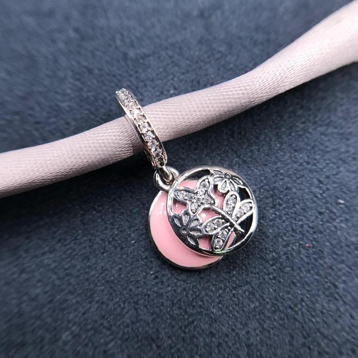 57Vy3 Pan Jia S925 sterling silver bead bead pendant ladybug Dragonfly Beads pendant snake bone bracelet DIY matching hanging beads jewelry