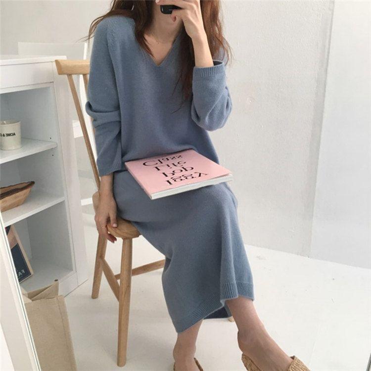 2020 Herbst-Winter-Frauen Lange Strickkleider Damen Bottom Strickkleid