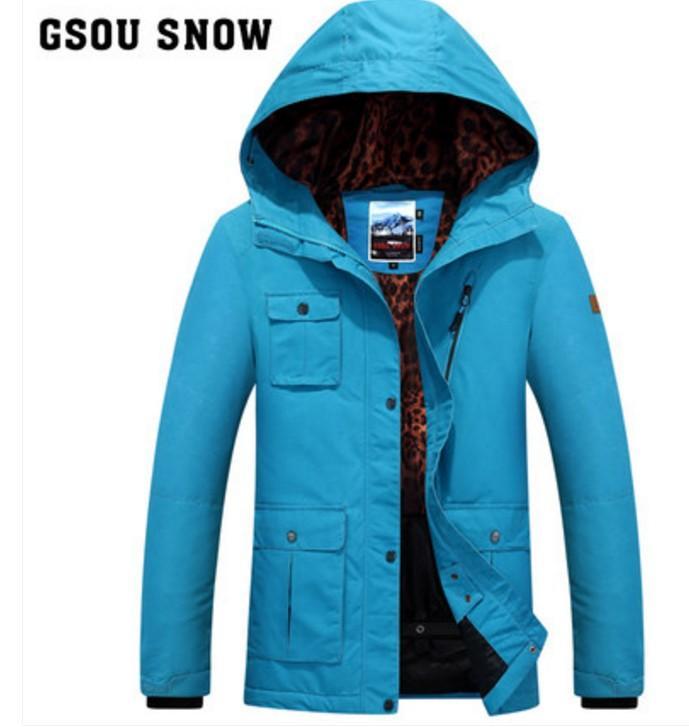 Le donne multi-tasca della giacca blu di sci femminile arancione giacche sci alpinismo invernale all'aperto da sci abbigliamento sportivo impermeabile
