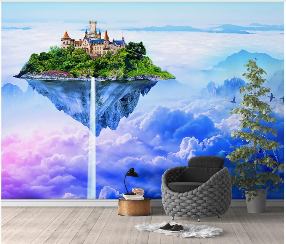 3d обои на заказ фото настенная Фантазия небо замок с красочными облаками домашнего декора 3d настенные фрески обои для гостиной