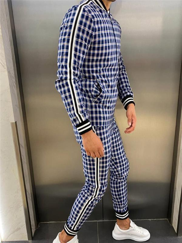 Homens 3d xadrez Sports Skalls Set Jacket Men Set Tracksuit Street Moda Tendência Moda Stand-up Collar Zipper Sportswear Terno