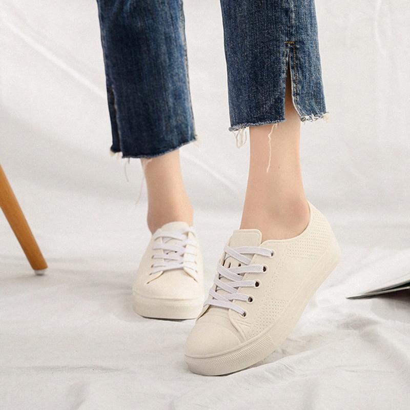 Женская обувь Дождевые водонепроницаемые плоские кроссовки 2019 весна черные / белые кроссовки для женщин вскользь Узелок дождь сапог Плюс Размер 36 41 Moccas eVLB #
