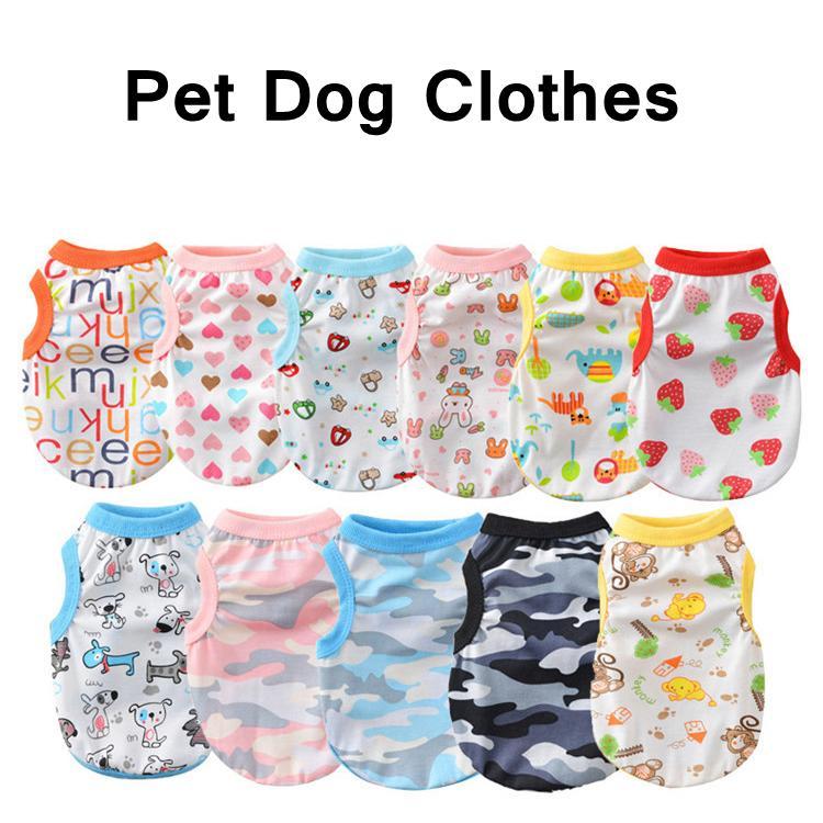 Ropa para perros Chaleco de verano Impresión de dibujos animados Perrito Paño Moda Outwears Chaqueta casual de algodón para ropa de perro DOG HHD1631