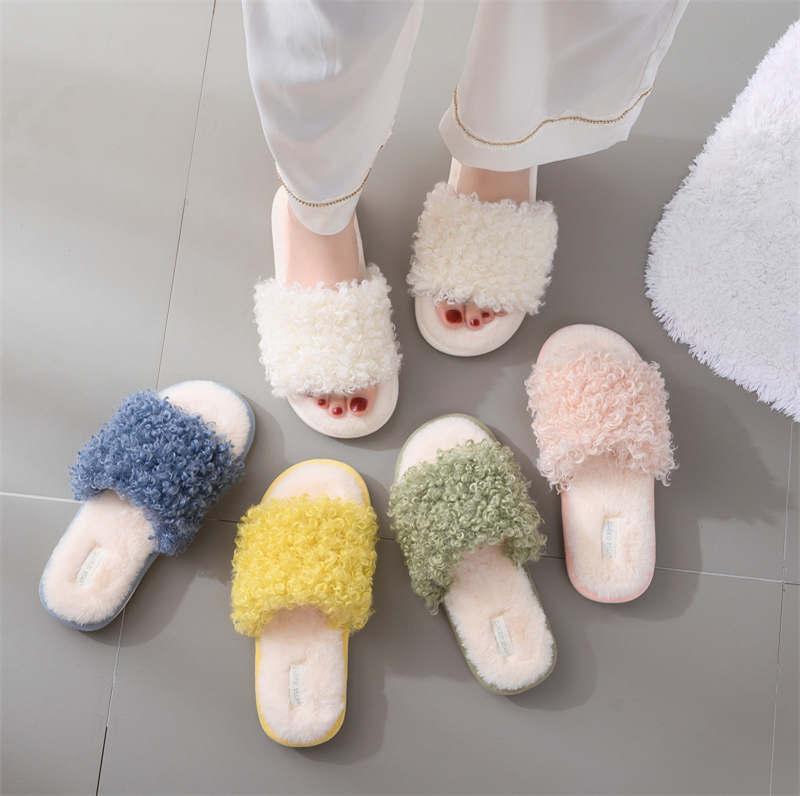 متعدد الألوان إمرأة مفتوحة تو النعال الشتاء أفخم الدافئة المنزل الشرائح الأحذية أزياء عارضة سيدة داخلي زحافات