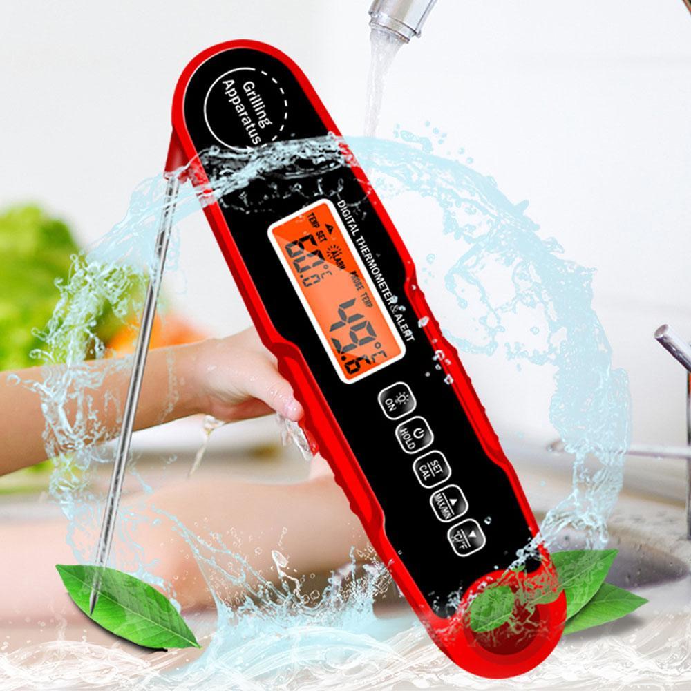IPX4 Su geçirmez El Katlanabilir Mutfak Gıda Pişirme barbekü Et Mangal kızartma Fırın Termometre Süt Sıvı Sıcaklık Probu Çatal