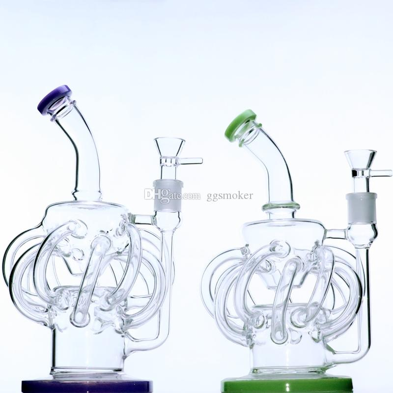 """circa 11"""" pollici lampadario riciclatore bong 14 mm femmina galss congiunta bong recyler olio bong acqua rig"""