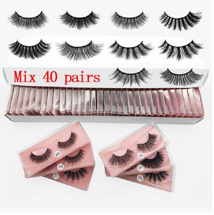 3D Mink Eyelashes 8 estilos Maquiagem do olho Mink Falso cílios macio natural espesso Eyelashes falsificados 3d Olho de olho extensão ferramentas de beleza