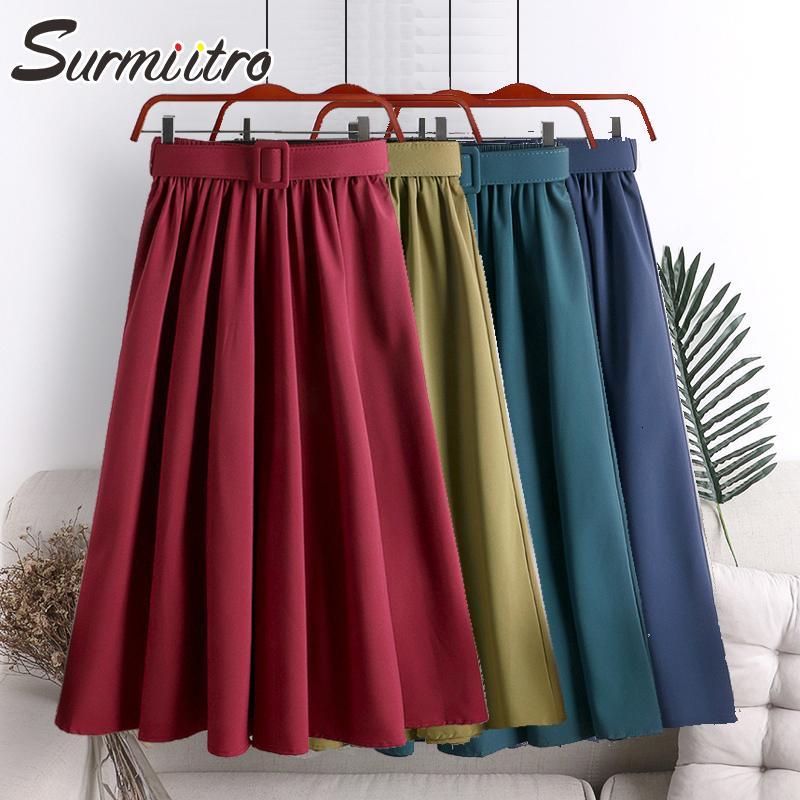 Surmiitro saia de Midi Mulheres com cinto para 2020 Primavera-Verão verde das senhoras coreano Red Bla azul cintura alta saia longa Feminino