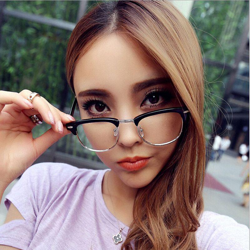 Nueva moda Gafas retro modelos femeninos y masculinos de la moda y el marco de remache óptica gafas Gafas de Grau medio marco
