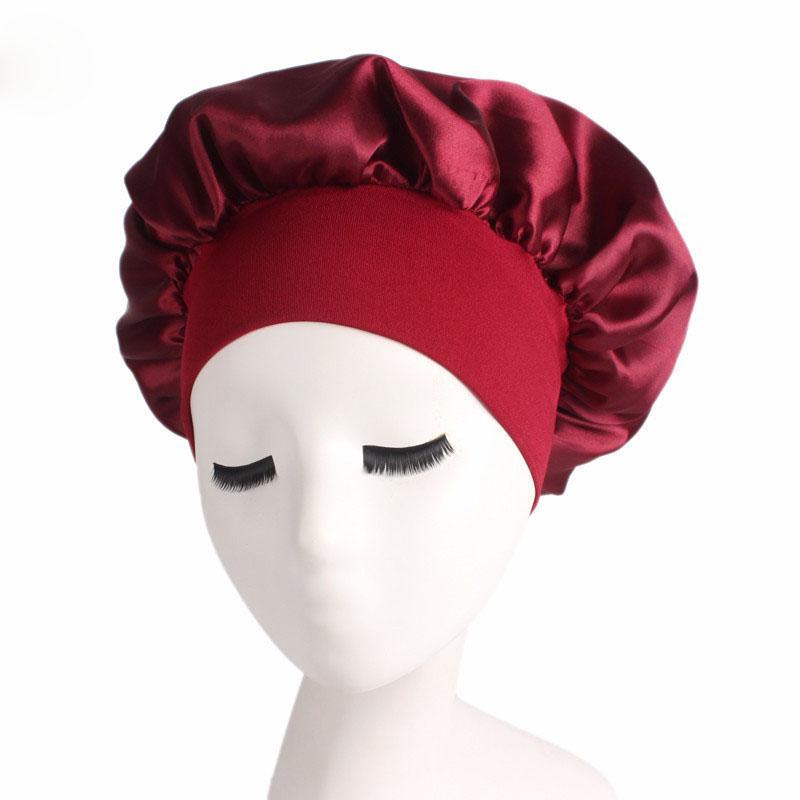 Breiter Krempe Hohe elastische Stirnband Night Cap Satin-Motorhaube für schöne runde Schlafhut Haarschutz 11 Farben
