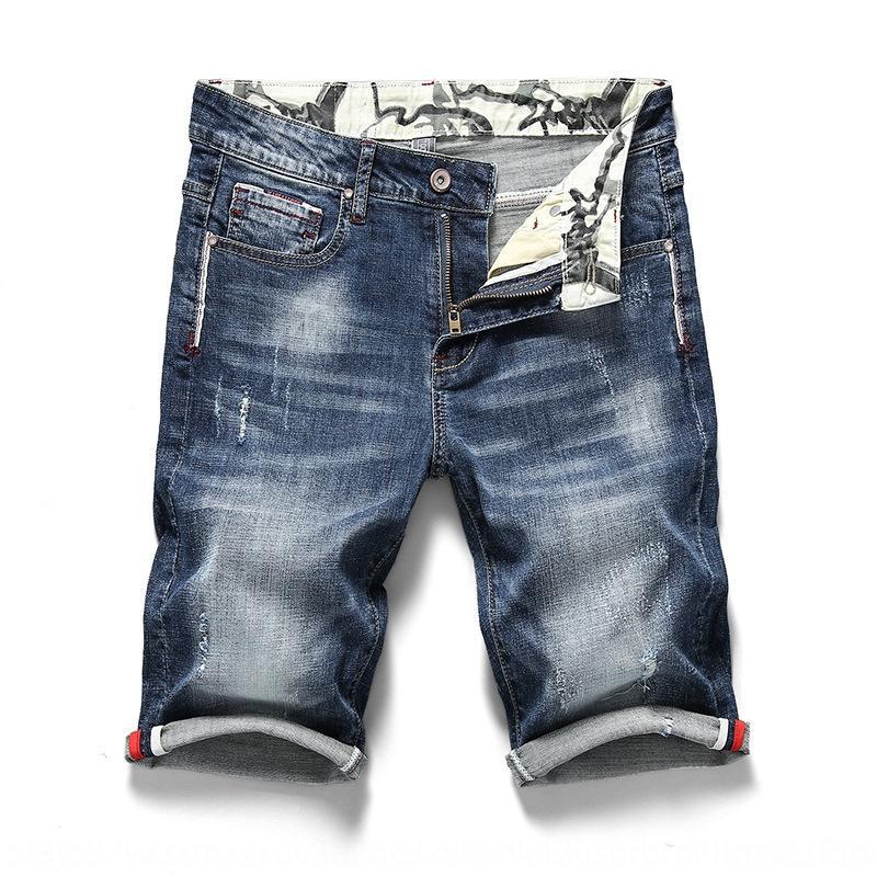 2019 лето новые мужские джинсовые шорты тонкие прямые хлопковые эластичные промытые случайные шорты и брюки и брюки мужские брюки обрезанные среднего годовых
