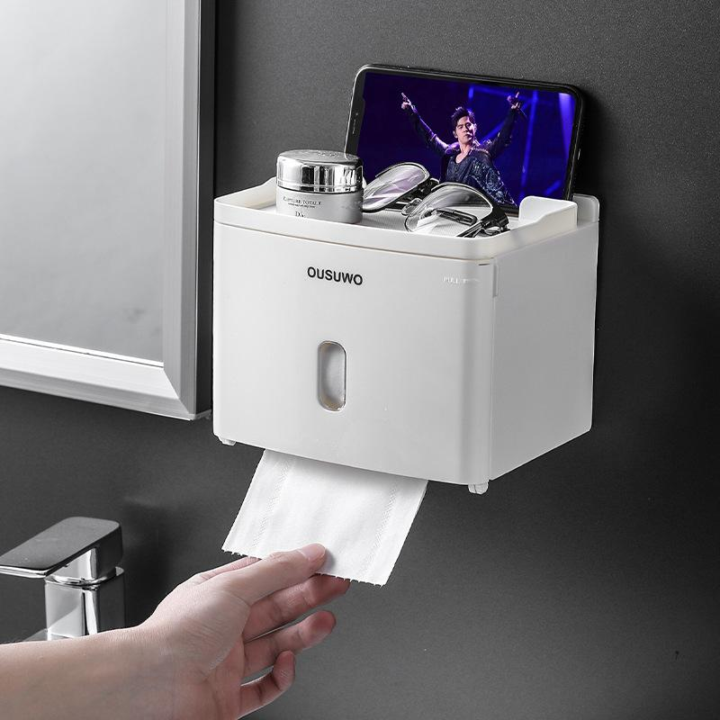 Machine murale imperméable Toilette Toilette Tablette Toilette Toilette Plateau rouleau Tube Tube de rangement Boîte de toilette Accessoires de salle de bain