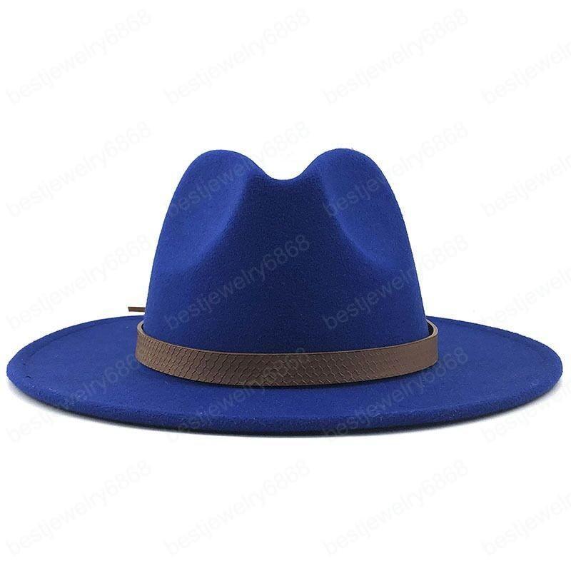 Geniş Ağız Sonbahar Trilby Kapaklar Kadın Erkek Moda Üst Şapka Caz Kap Kış Panama Şapka Vintage Fedoras Erkekler Mafya Şapka 56-58 cm Keçe