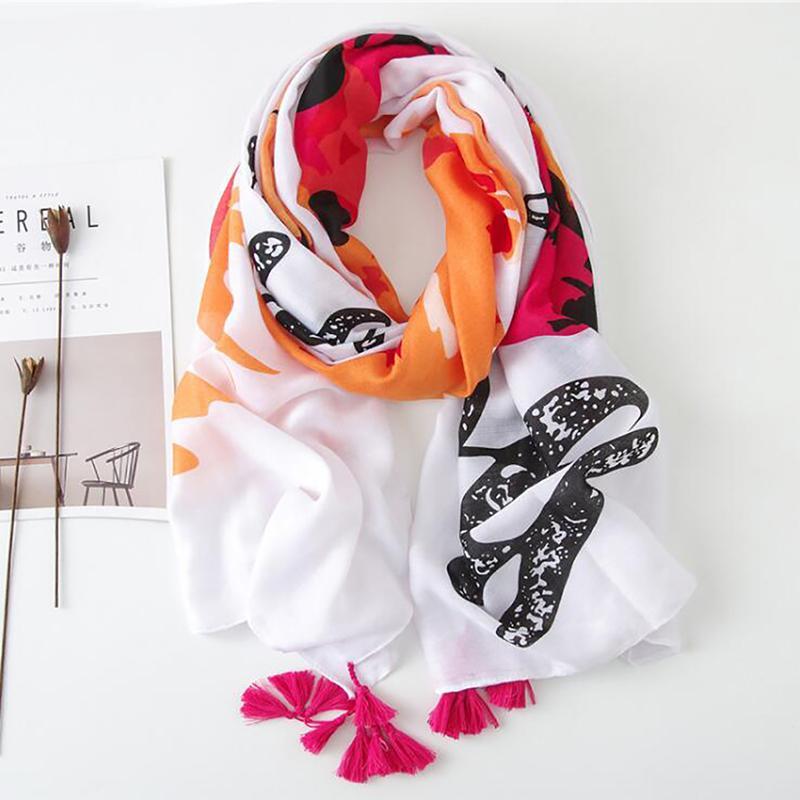 2020 Spring Summer Cotton Polyester Feather Women Scarf Tassel Autumn Elegant Ladies Shawl Soft Quality Exquisite Pashimina