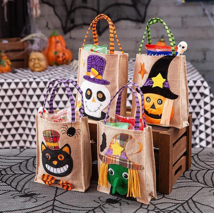 Presente do Dia das Bruxas Bolsas feltro sacos de armazenamento dos doces bruxa da abóbora Saco quadrado sacola do dia das bruxas das crianças caçoa o presente Bag Detalhes no Totes YL410