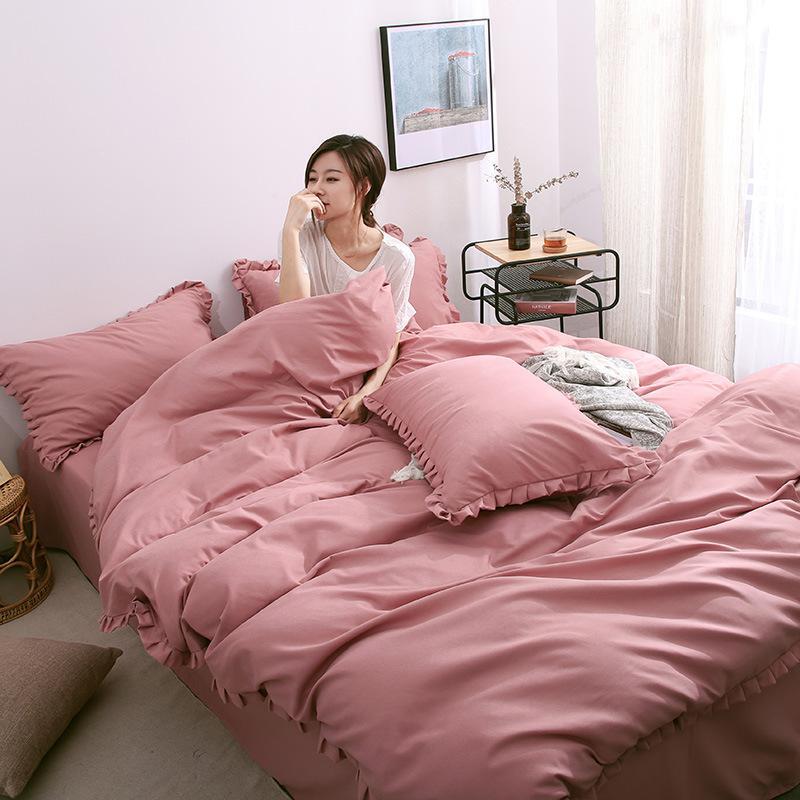 غطاء لحاف الصرفة اللون مجموعة مفروشات الحديثة تعيين الملك مزدوجة التوأم سرير الأميرة بنات موجز الأخضر الوردي سرير مسطح ورقة