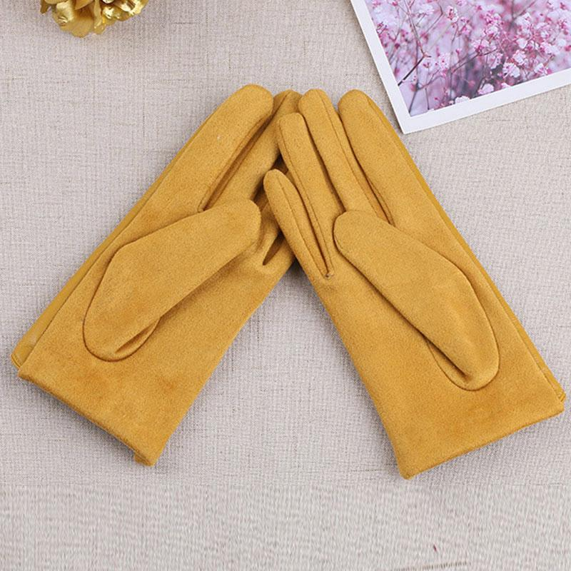 Suede Leather Female Fashion Winter Gloves Thickened Touch Screen Solid Color Glove Warm Driving Gloves Full Fingers Mittens