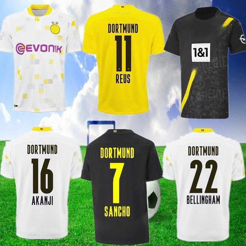 Haaland Reus Borussia 20 21 Dortmund Soccer Jerseys 2020 Chemise de football Bellingham Sancho Reus Hummels Brandt de pied Maillot