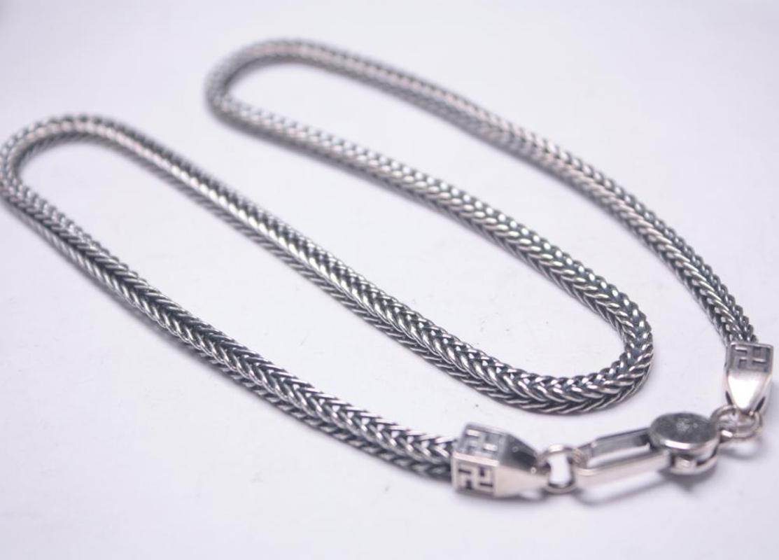 """Colar de prata real retro S925 Sorte 4mmW For Men trigo Cadeia de 18"""" G Presente New"""