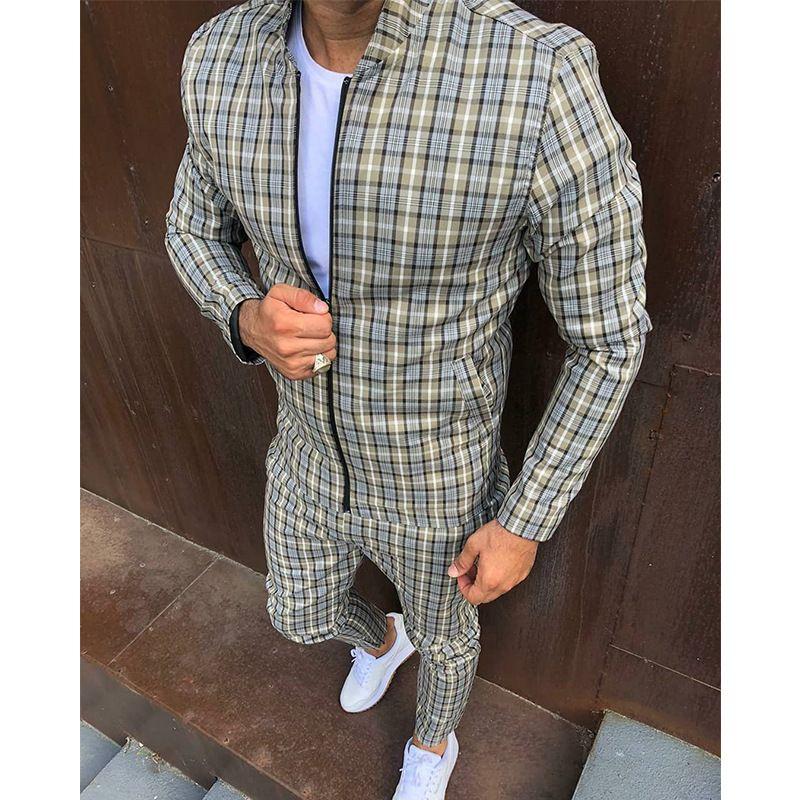 Nuevos chaquetas de moda hombres chándals conjuntos para hombre set colorido a cuadros hombres casual cremallera conjunto otoño chándal masculino sudadera bolsillo