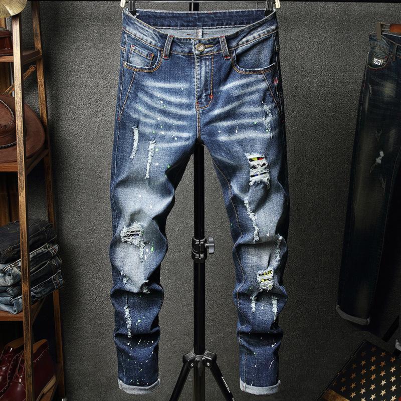 perfurada bordados finos jeans reta elásticas dos homens transfronteiriças dos homens moda das calças de moda personalizadas