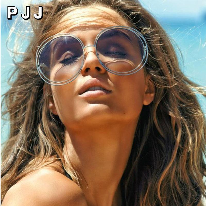 Lunettes de soleil Taille de la marque ronde Gafas Nouveau cadre 2020 Sunglasses de mode surdimensionnée Lentilles Vintage Métal Femmes Auggr