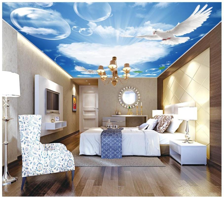 3d фото обои на заказ 3d потолочных росписей обои Голубое небо и белый потолок enith Фреска гостиная