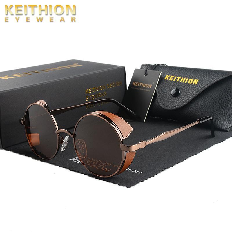 Quality Classic Frame Steampunk Sunglasses Polarized Women Sun Men Vintage Metal Round Gothic High Brand Glasses KEITHION UV400 Nugnw