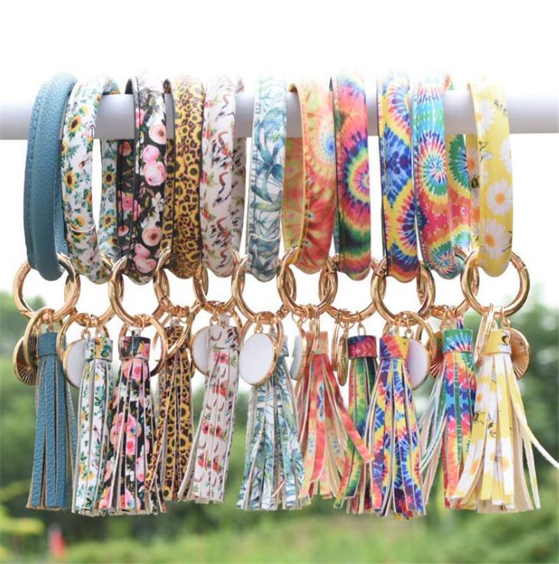 Несколько стилей Sun Flower Tie-окрашенная кожа Wrap кисточки браслеты брелок Wristlet браслет кисточкой брелок круглый браслет брелок OWF1899